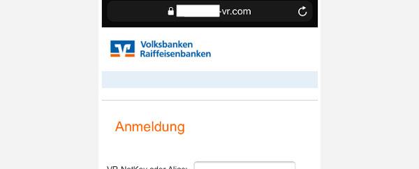 Ansicht der Phishing-Seite mit Eingabemaske für VR-NetKey oder Alias und PIN
